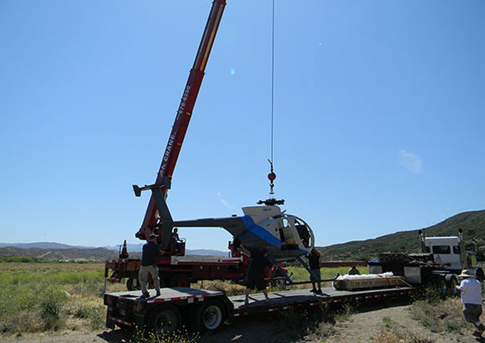 30 ton crane lifting helicopter