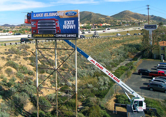 road side sign billboard banner installation
